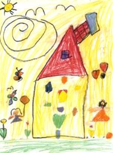 Gyermek rajz napsütéses hátér házikó és virágok