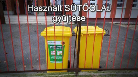 Használt sütőolaj gyűjtése a Dömsödi Széchenyi István általános Iskolában