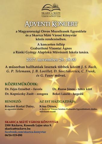 Ráckeve Városi Könyvtár meghívója Adventi Koncertre